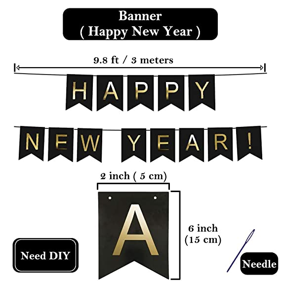 amazoncom new year balloons kit decorations 32 inch 2019 foil balloon happy new year banner tassel gold black silver paper poms latex balloon with air