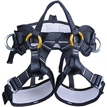 powerful kissloves Full Body Safety Harness Outdoor Climbing Harness Half Body Harness Safe Seat Belt for Mountaineering Outward Band Expanding Training Rock Climbing Rappelling Equip