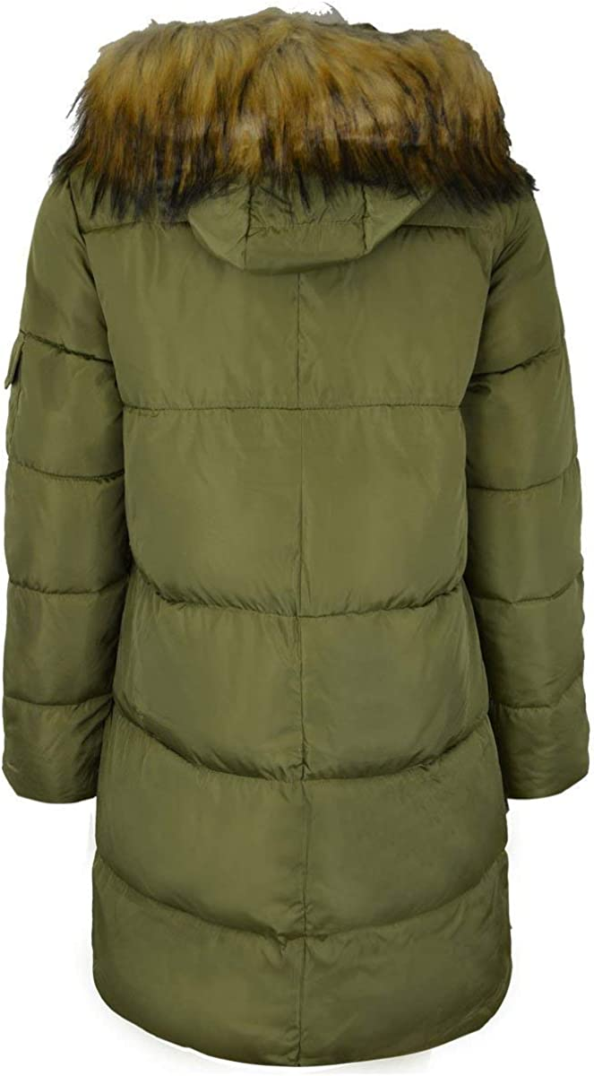 Fashion Thirsty Womens Ladies Quilted Long Winter Coat Padded Puffer Fur Collar Hooded Jacket Size