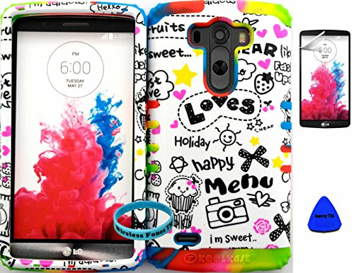 Wireless Fones TM Hybrid Dual Layer Cover Case for LG G3 Happy Holiday Heart Snap + Rainbow Skin (Wireless Fones Wrist Band, Pry Tool & Screen Protector Included)