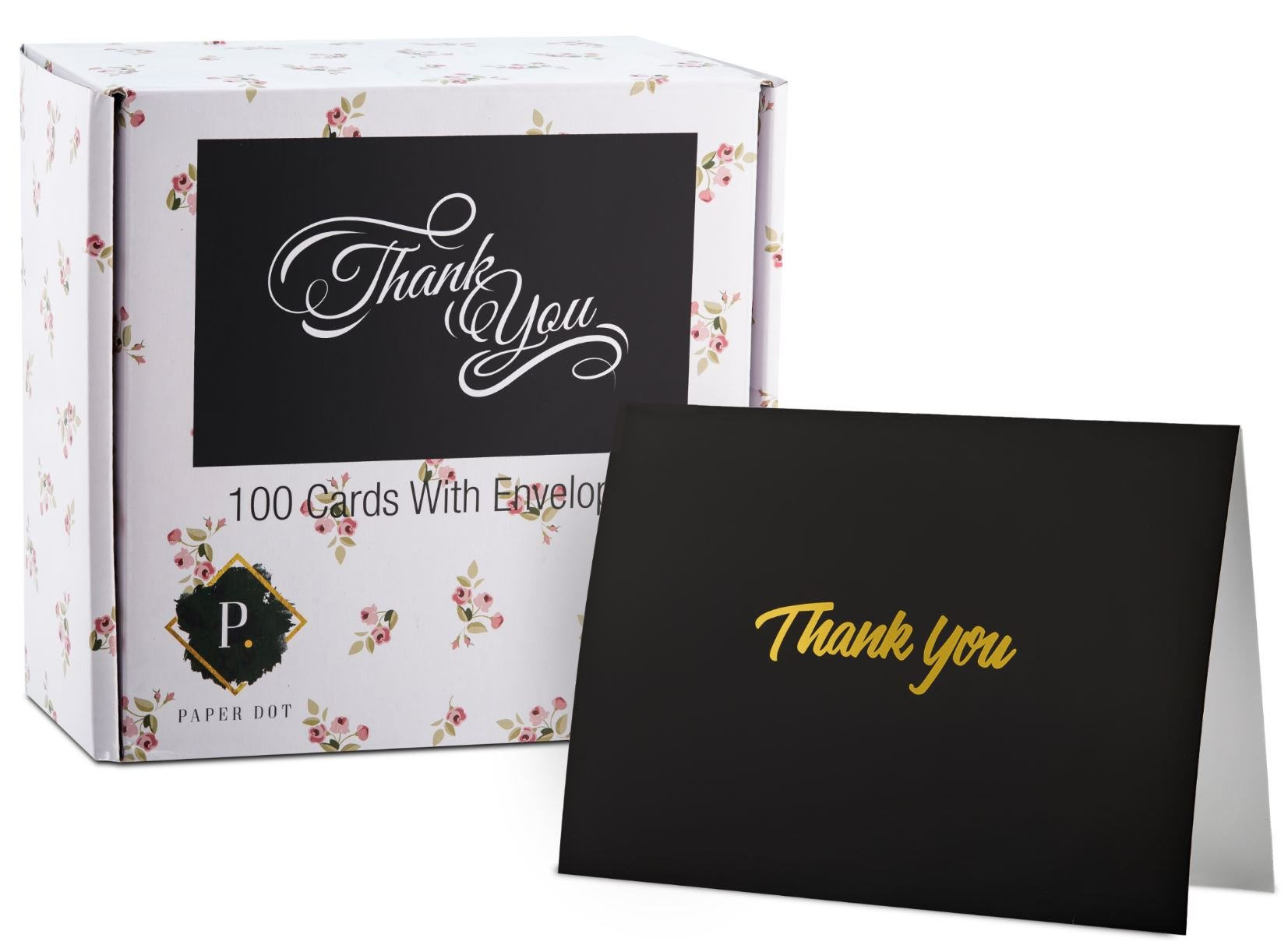 100 Thank You Cards with Envelopes - Thank You Notes, Black & Gold Foil - Blank Cards with Envelopes - For Business, Wedding, Graduation, Baby/Bridal Shower, Funeral, Professional Thank You Cards Bulk by FORTIVO (Image #1)