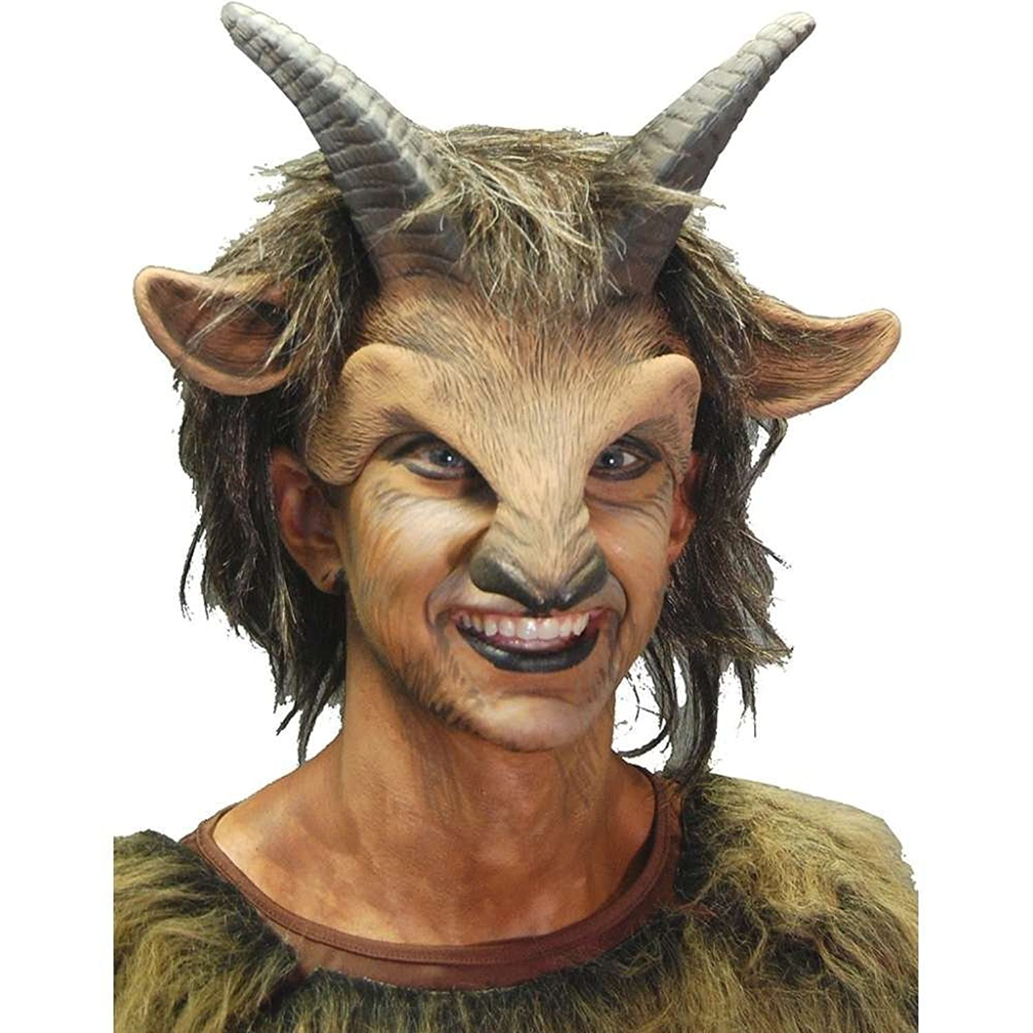 Amazon.com: Zagone Goat Boy Mask, Horns, Nose, and Hair, Animal ...