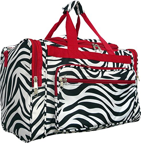 Red Black White Zebra Duffle Dance Cheer Gym Bag 19