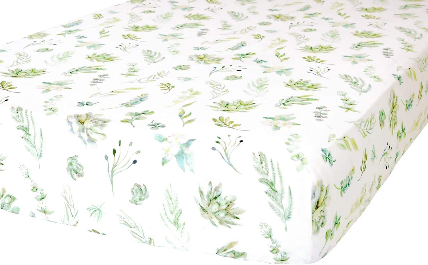 ADDISON BELLE 100% Organic Cotton Fitted Crib Sheet - Premium Baby Bedding - Soft, Breathable & Durable - Succulents Print