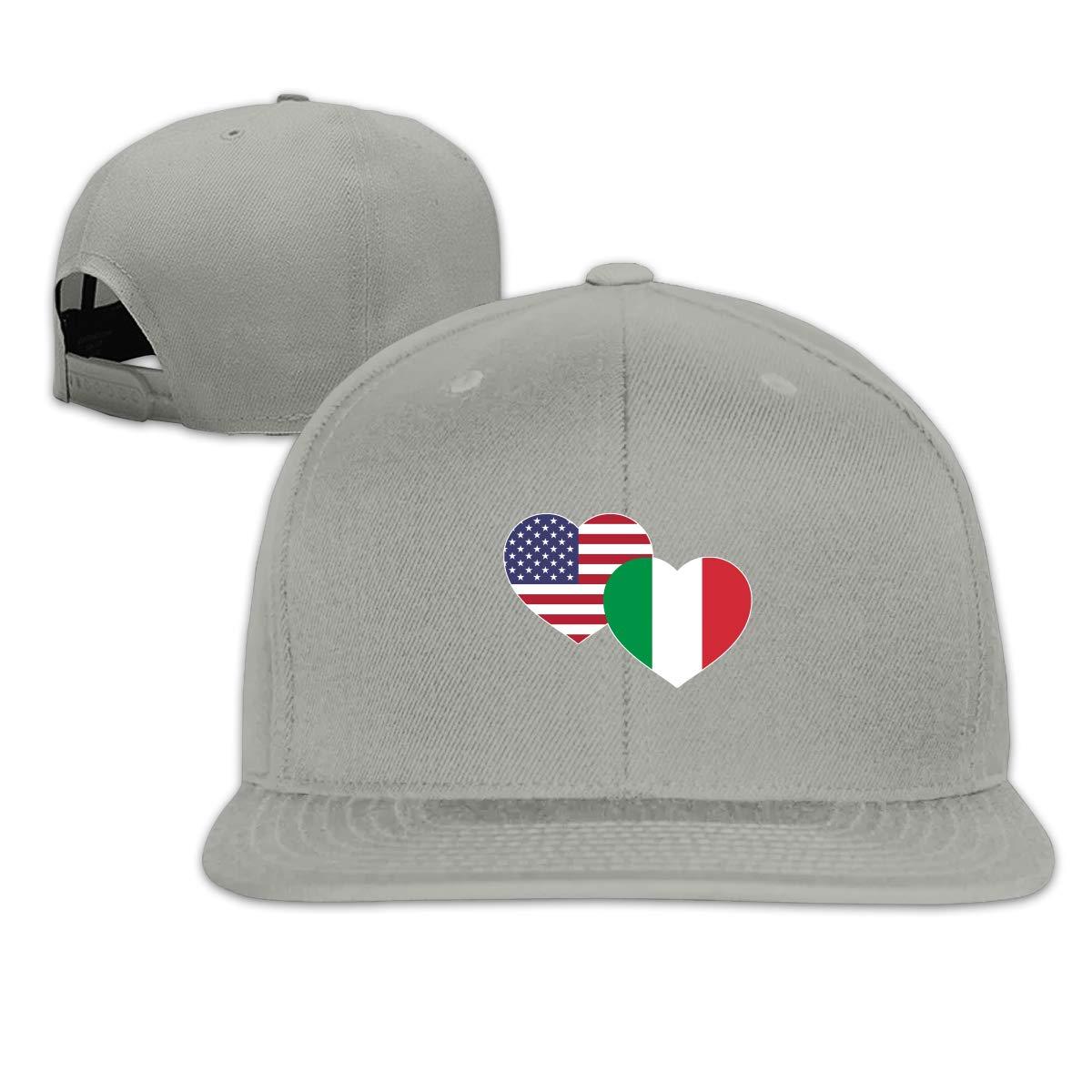 MOCSTONE Unisex Snapback Hat US Italian Flag Heart Adjustable Baseball Cap