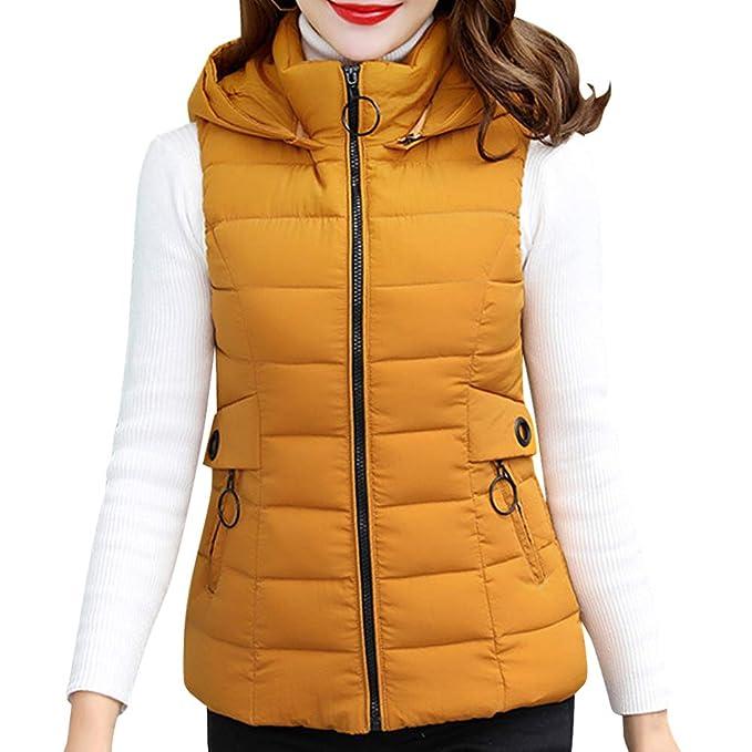 90ca02331b8 Yudesun Cálido Abrigo Chalecos Chaqueta Mujer - Señoras Invierno Plumas  Relleno Ropa Abrigos Sin Mangas con