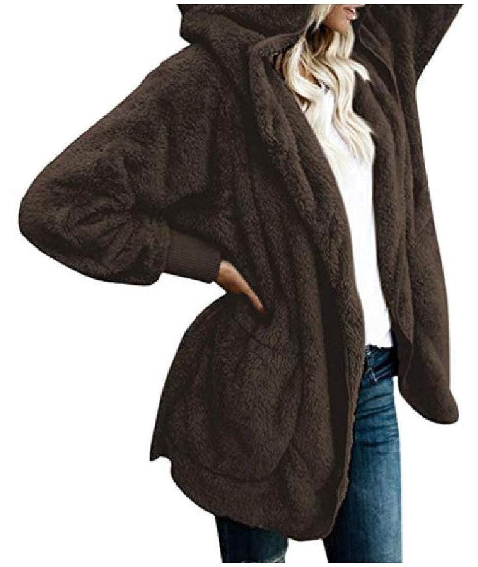 YUNY Womens Open-Front Hoodie Velvet Oversize Mid-Long Pocket Outwear Coat Brown 3XL