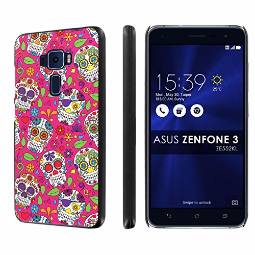 Asus [Zenfone 3] [ZE552KL] Phone Case [SlickCandy] [Black] Ultra Slim Cover – [Pink Skull Party] for Asus Zenfone 3 ZE552KL