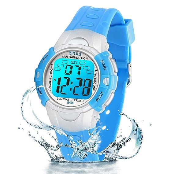 Reloj Digital para niños, 7 Colores, con luz LED, para niños, niñas, Resistente al Agua, Reloj Deportivo Digital para niños