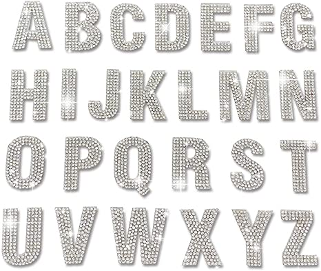 4 Colours Glitter Crystal Alphabet Letter Stickers Self Adhesive Words