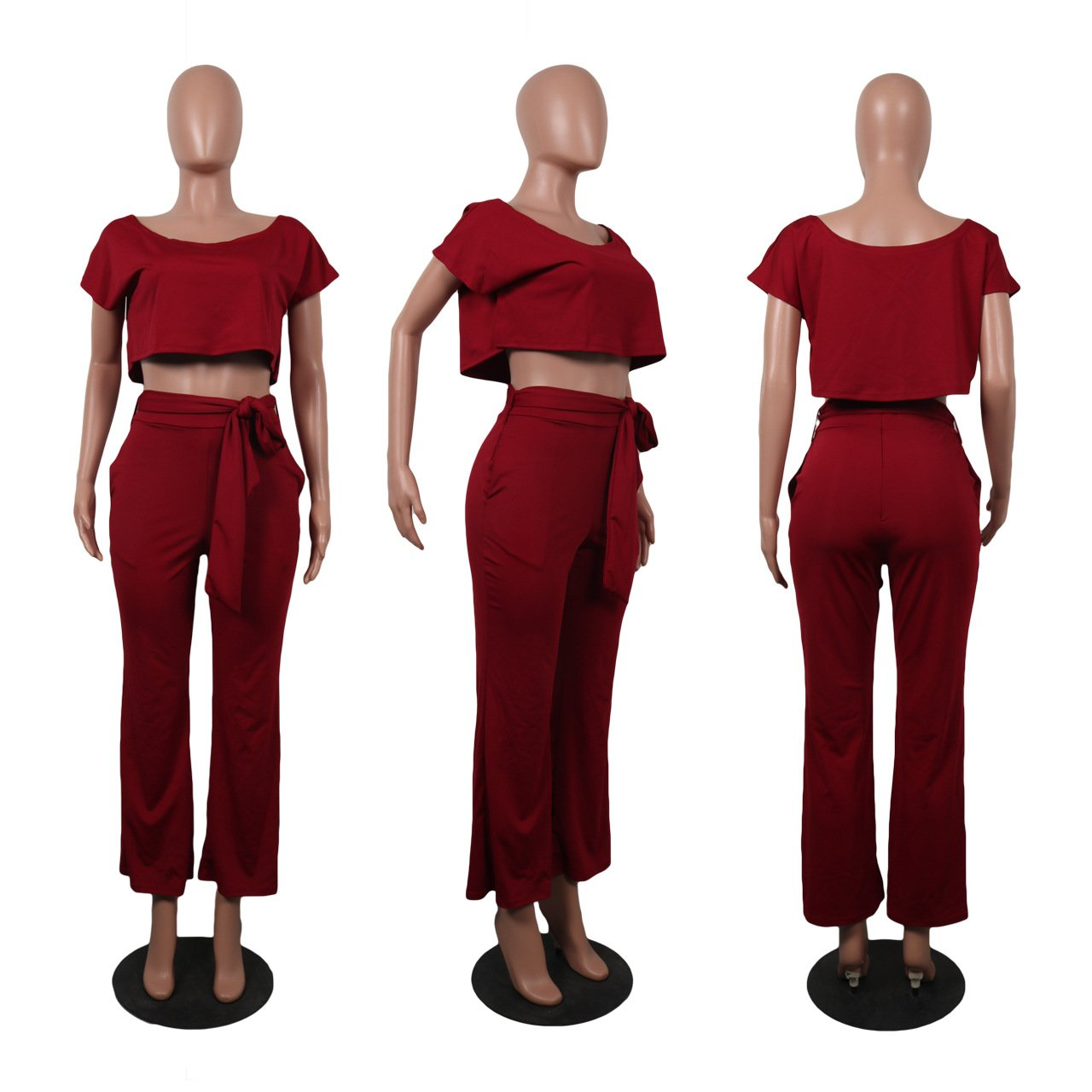 Blazar Tuta Donna Due Pezzi Estiva Maglietta Sciolto T-Shirt Tops Pantaloni Gamba Larga