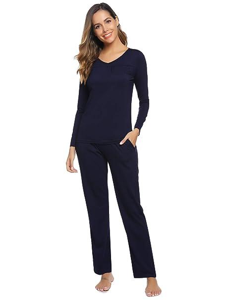 best cheap ee4c4 5cd3f Aibrou Damen Einfarbige Pyjama Set, Zweiteiliger Modal Langarm Schlafanzug
