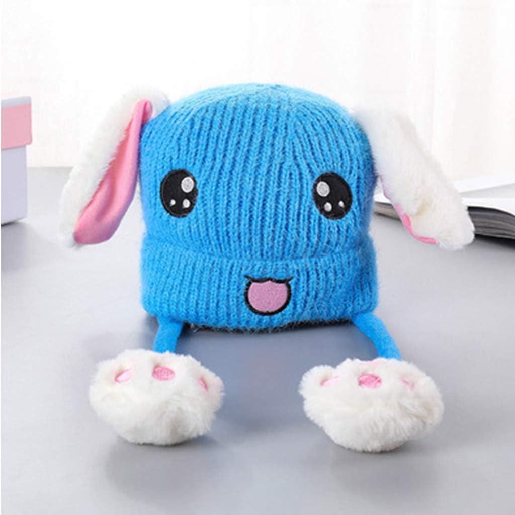 MB-LANHUA Toddler Kids Cute Rabbit Face Ricamo Cappello Lavorato a Maglia con airbag Orecchie mobili Inverno Caldo Spesso Spesso Peluche Beanie cap Regali 1-10T Beige