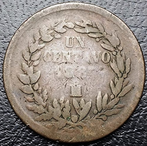 Unbranded MEXICO: 1887 MO 1 CENTAVO COPPER COIN, KM #391