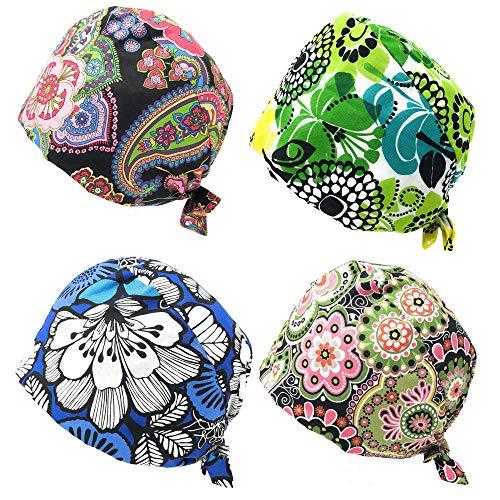 Rusoji 4pc Women Men Adjustable Sweatband Bouffant Scrub Cap Hat, One Size Fits Most (Set A)