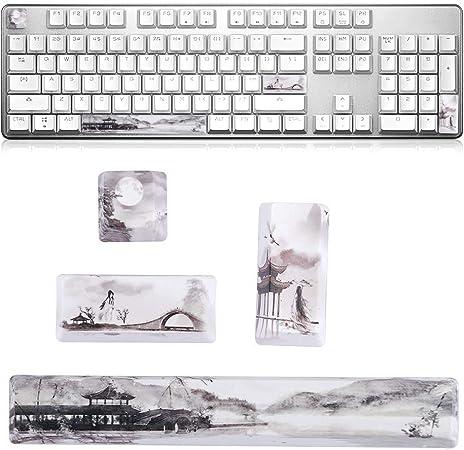 Ccylez Keycap, Landscape Pattern DIY Keycaps Space + ESC + Enter + Numpad Enter Keycap para teclados mecánicos universales(Otro)