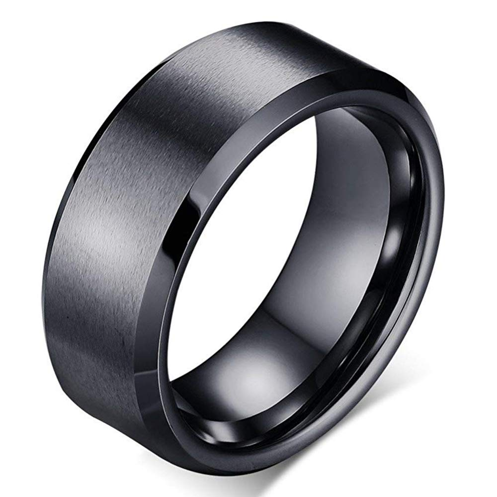 Anyasun 8MM Titanium Steel Rings Beveled Edge Rings for Men & Women for Lovers (Black, 7)