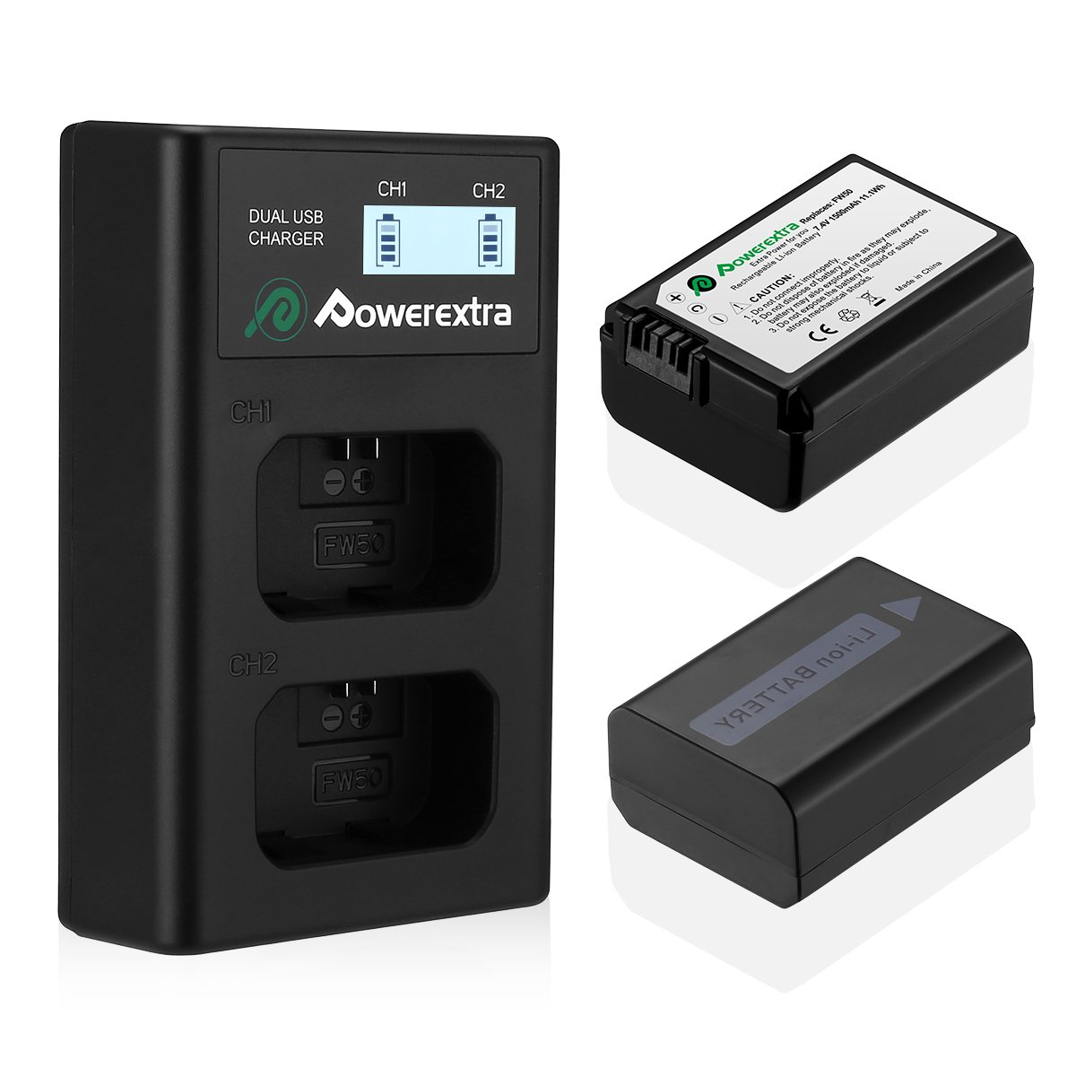 Powerextra 2 Pack Replacement Sony NP-FW50 Battery & Smart LCD Display Dual Channel Charger Compatible for Sony Alpha a6500, a6300, a6000, a7s, a7, a7s ii, a7s, a5100, a5000, a7r, a7 ii Camera by Powerextra