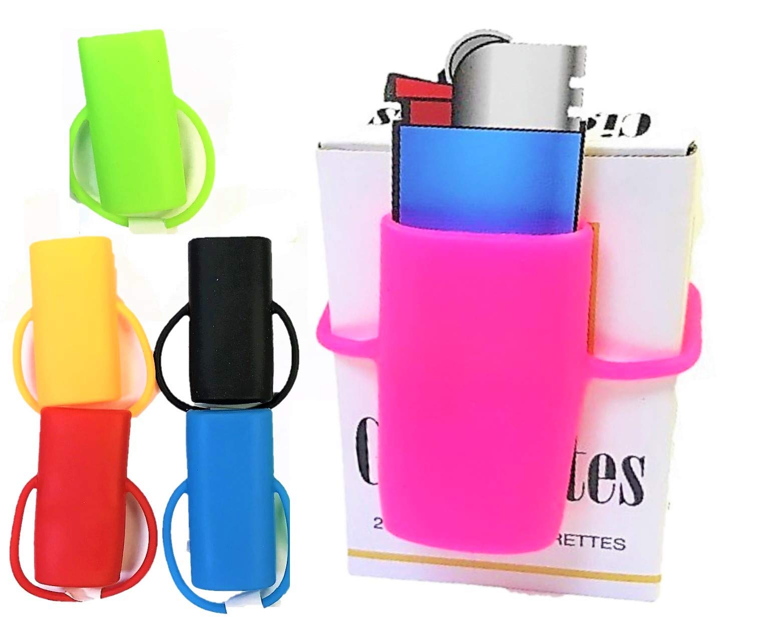 3ct Bright 100% Silicone Rubber Lighter Cigarette Case Bands, Fits Bic Style