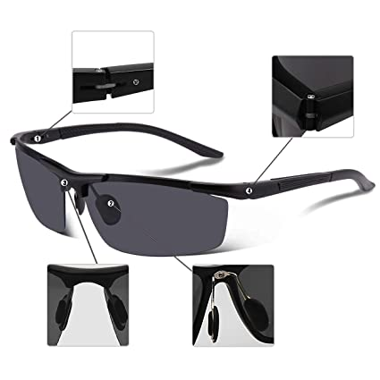 bb87632f13 COSVER 8530 Men s Sports Style Polarized Sunglasses for Driving Fishing Golf  Glass (Black