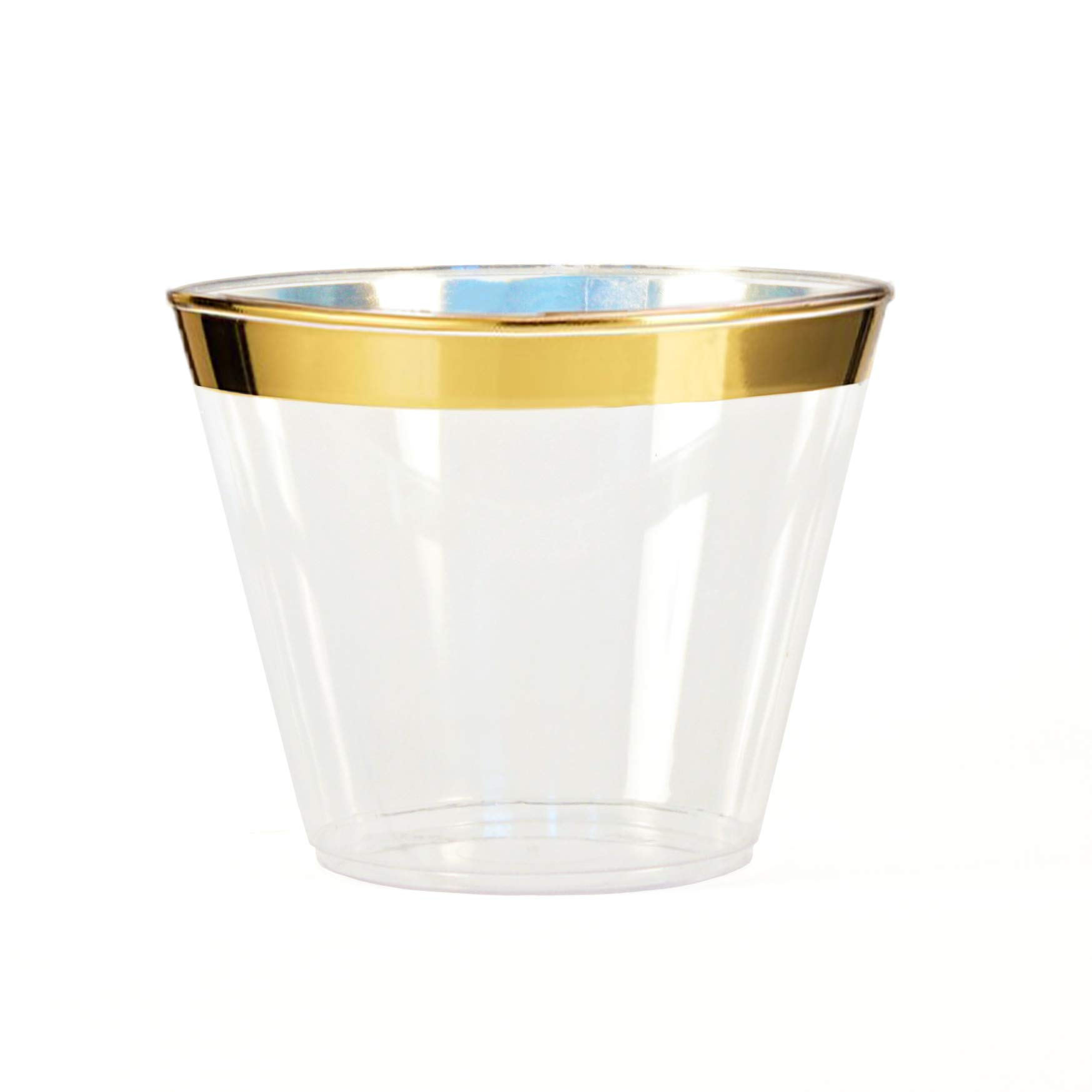 Gold Rimmed Plastic Cups - 50 Count- 9 Ounce Clear Plastic Party Cups - Elegant Gold Style - Wedding, Birthday, Anniversary Drink-Ware with Gold Rim - by Two Dee