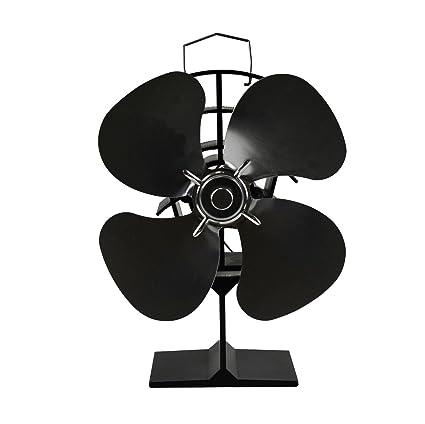 newmeil 4-Blade Ventilador para estufa chimenea flujo de aire Alto Rendimiento Silencioso, ahorrar