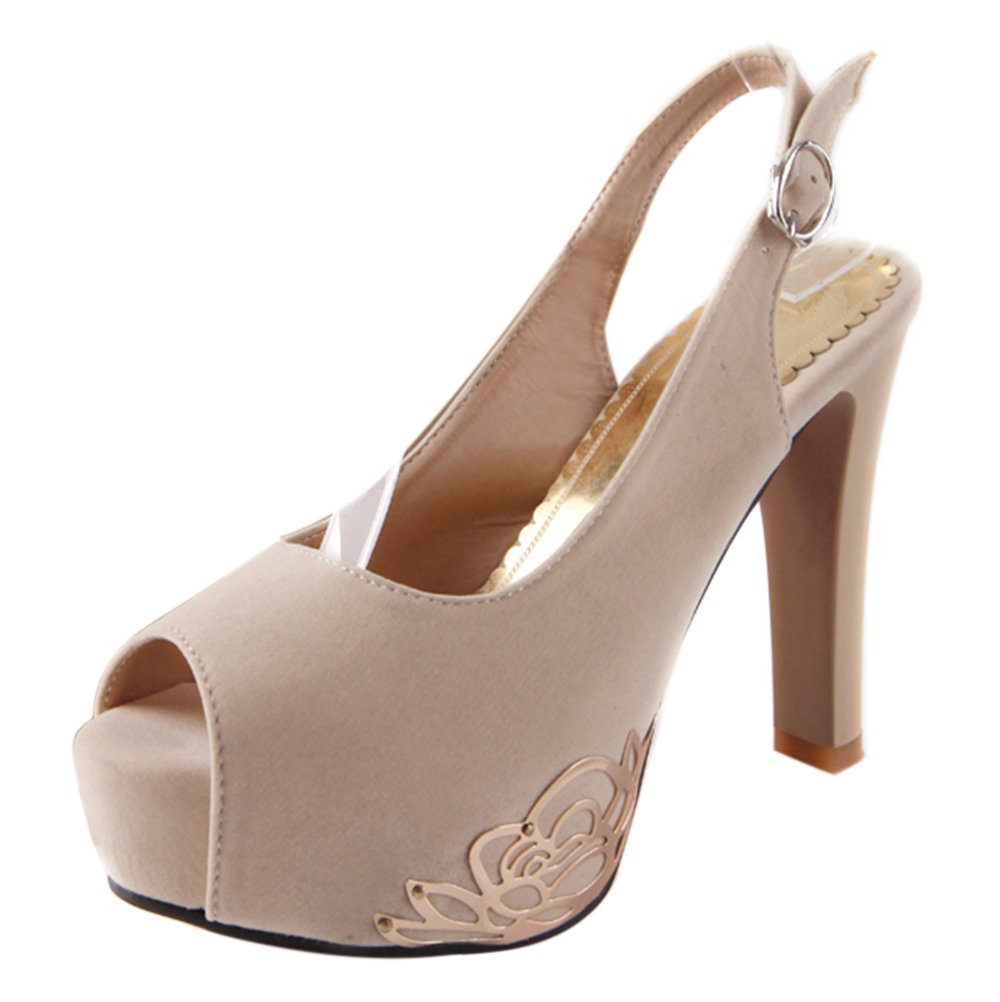 COOLCEPT Donna Moda Piattaforma Scarpe Sandali con Tacco Alto Beige