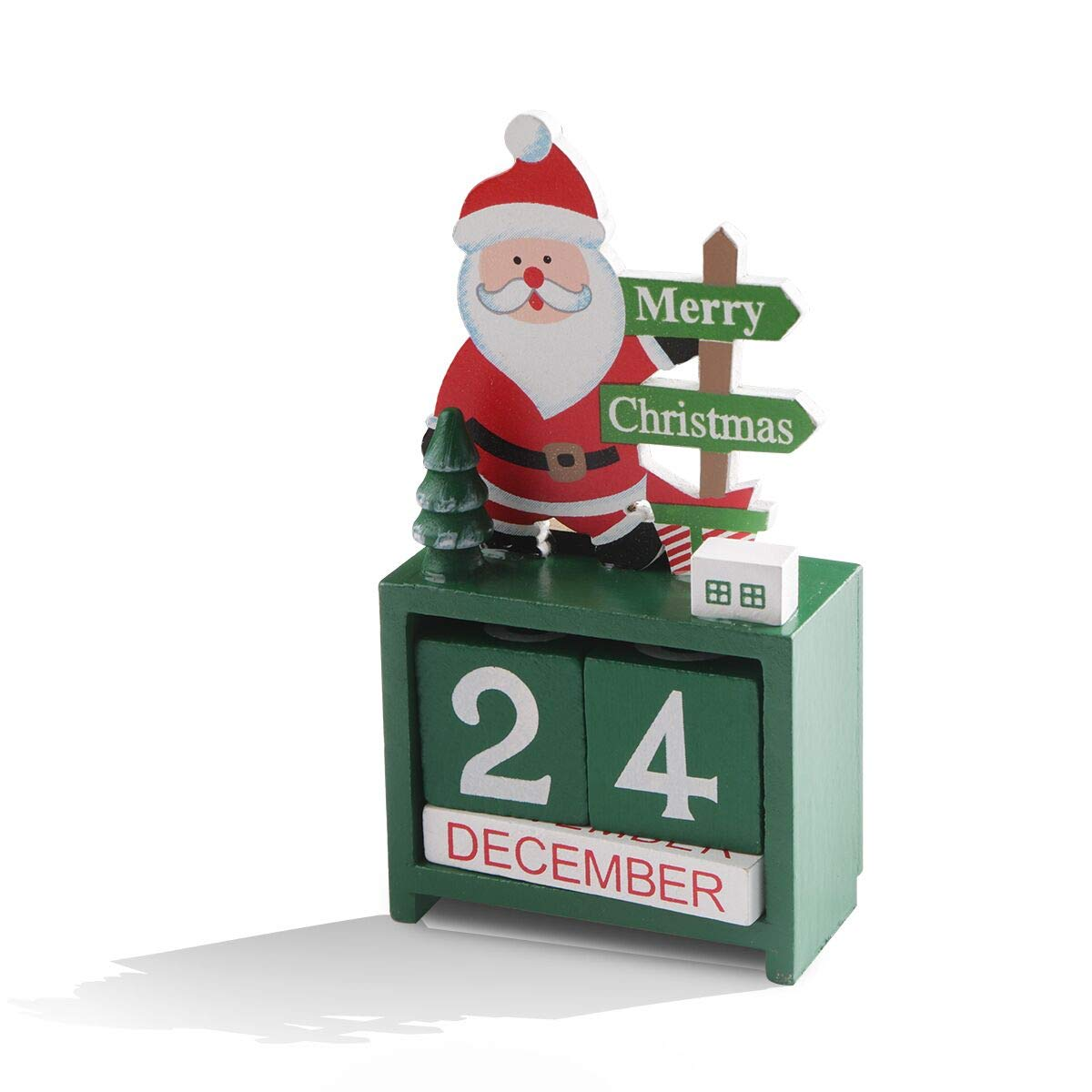 Cooliya Wooden Advent Calendar, Premium Christmas Decor Wood Construction  for Christmas Decorations Party Favors (Green)