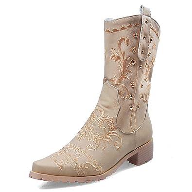 ad3d2bd35f5da Amazon.com | T-JULY Women's Embroidery Cowgirl Shoes Winte ...