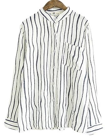 865fadf3c2f6f Soojun Ladies Stripe V-neck Cotton Linen Shirts Top Blouses Long Sleeve