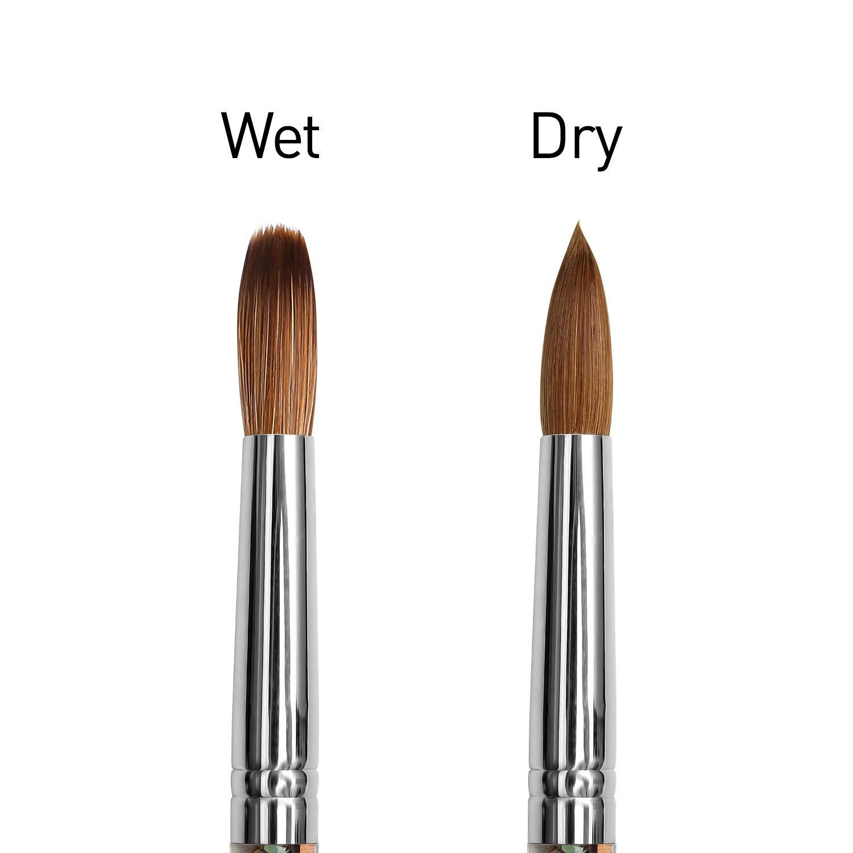 Modelones Acrylic Nail Brush for Acrylic Powder Manicure Pedicure 1pcs Kolinsky Sable Acrylic Nails Round Nail Art Brush With Liquid Glitter Handle #Size 10