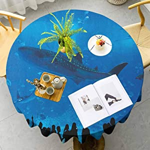 """MartinDecor Shark Soft Tablecloths Japanese Aquarium Park with People Silhouettes Watching Underwater Life Hobby Image Water Resistant Spill Proof Tablecloths for Outdoor Indoor, 35"""" RoundBlue Black"""
