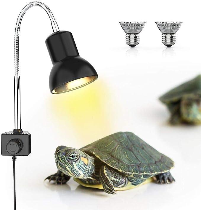 DADYPET Lámpara para Tortuga,UVA UVB de 25W,Dos Basking Iluminación de Calor,Pinza giratoria de 360 Grados y Fuente de alimentación Reptiles Acuario de Tortuga Lagarto