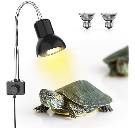 DADYPET Iluminación para Tortuga, Basking Lámpara de Calor Halógena UVA UVB de 25W Reptiles Acuario