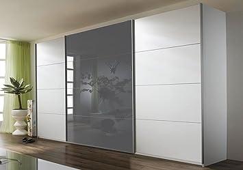 Rauch A9333.V978 Quadra - Armario con puertas correderas (3 puertas, 1 frontal de cristal, 315 x 210 x 62), color gris: Amazon.es: Hogar