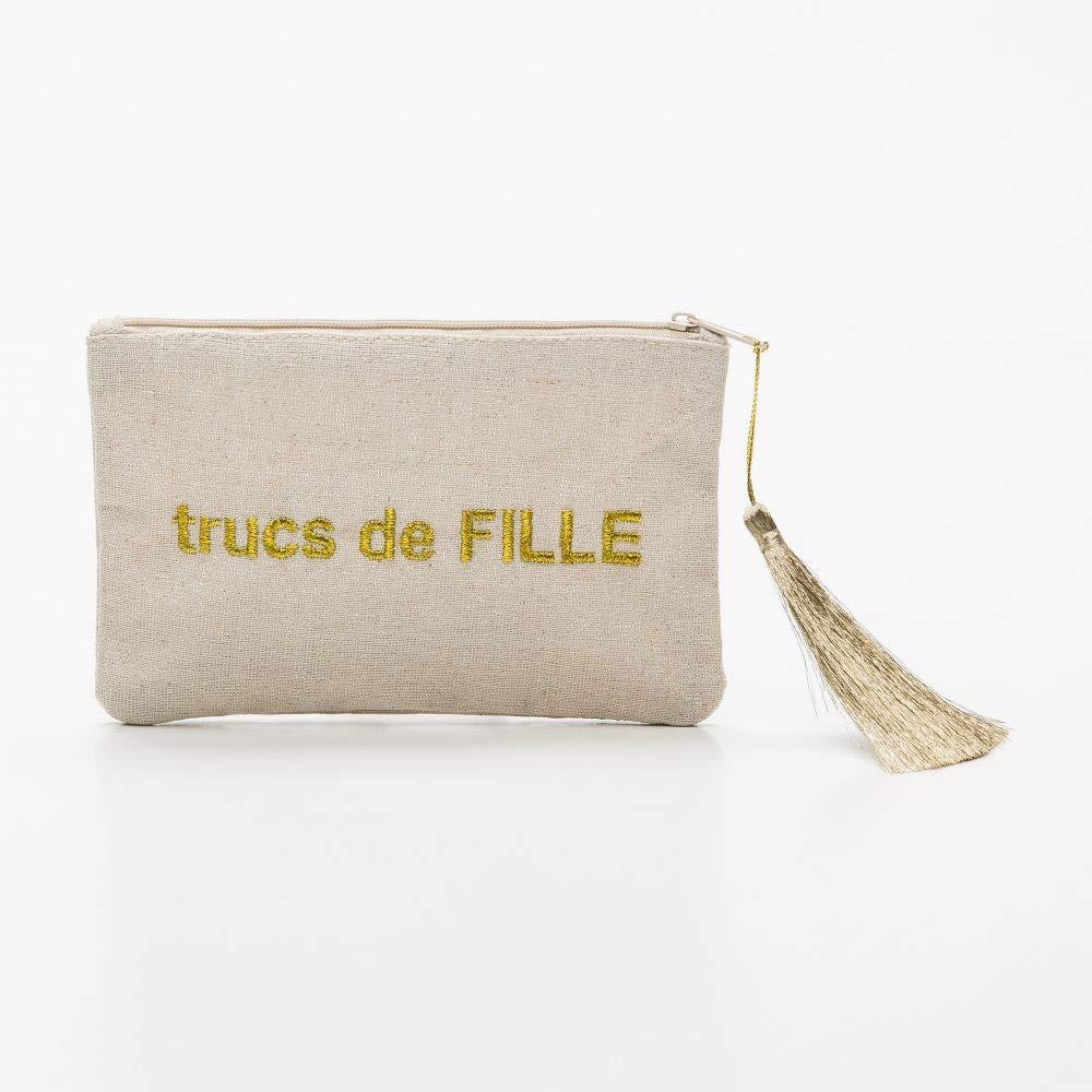 Mes-bijoux.fr Petite pochette /à message beige TRUCS DE FILLE dor/ée