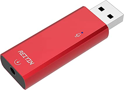 192khz 24bit USB to 3.5mm Audio Adapter with Analog and Optical Digital Output Mode Reiyin DA-02 DAC USB-A Digital to Analog Audio Converter Blue