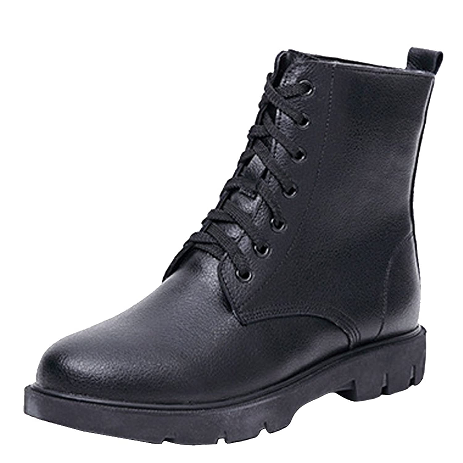 Aiyuda Women's Winter Leather Combat Boots with Fur Lining Military Warm Low Heel Punk Martin Booties