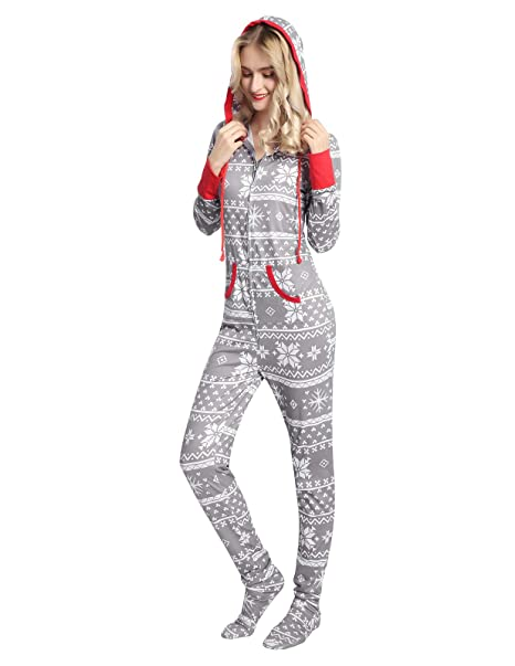amonida women onesie footed pajamas zip up comfy nightwear gray medium