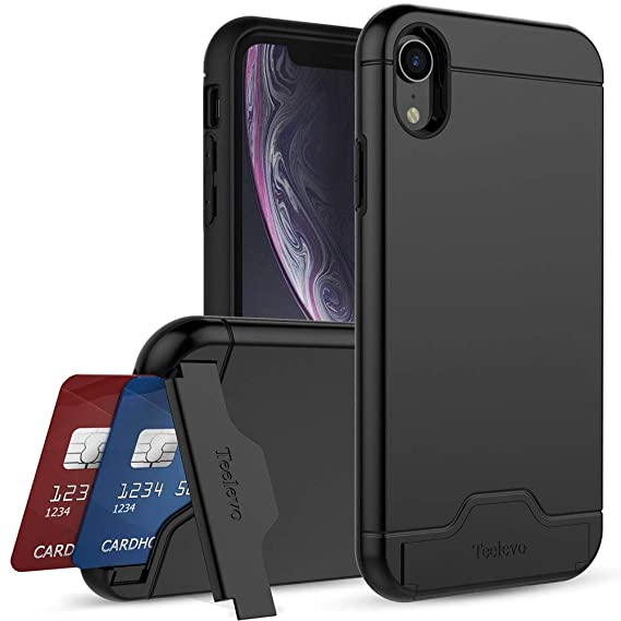 newest 93dd7 2c5cb Amazon.com: Teelevo Wallet Case for iPhone XR - Dual Layer Case with ...