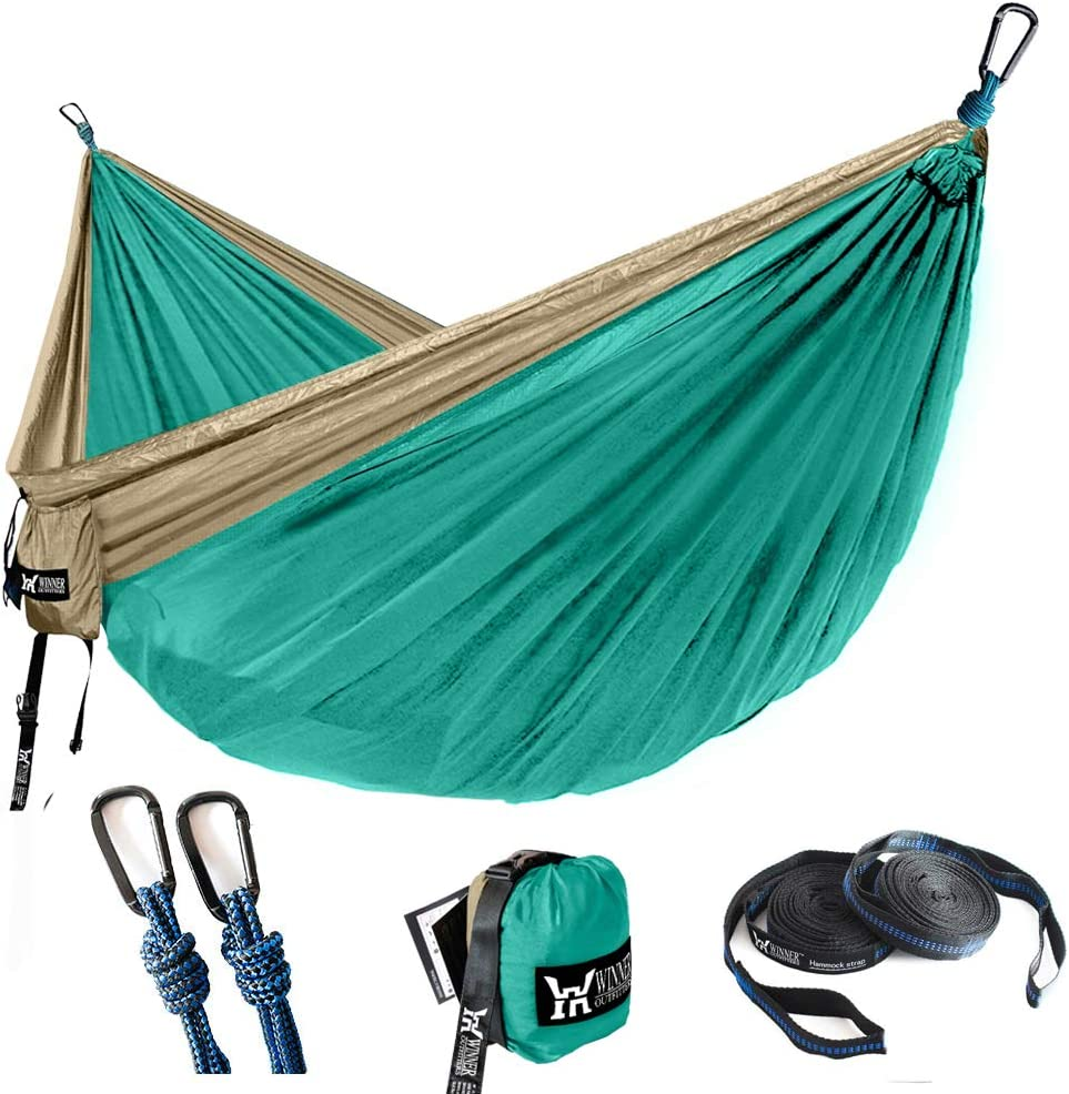 Best Parachute Double Hammock for Backpacking Beach WINNER OUTFITTERS Double Camping Hammock Travel x 78 Camping L 118 Yard W Lightweight Nylon Portable Hammock