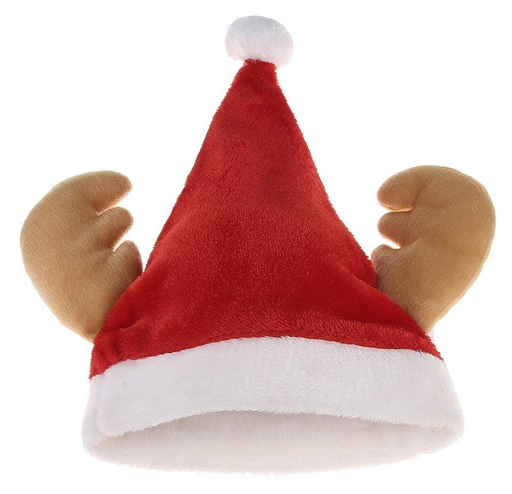 33e89858833dd Amazon.com  Jelord Adult Plush Antler Santa Hat Christmas Costume Party Hat   Clothing