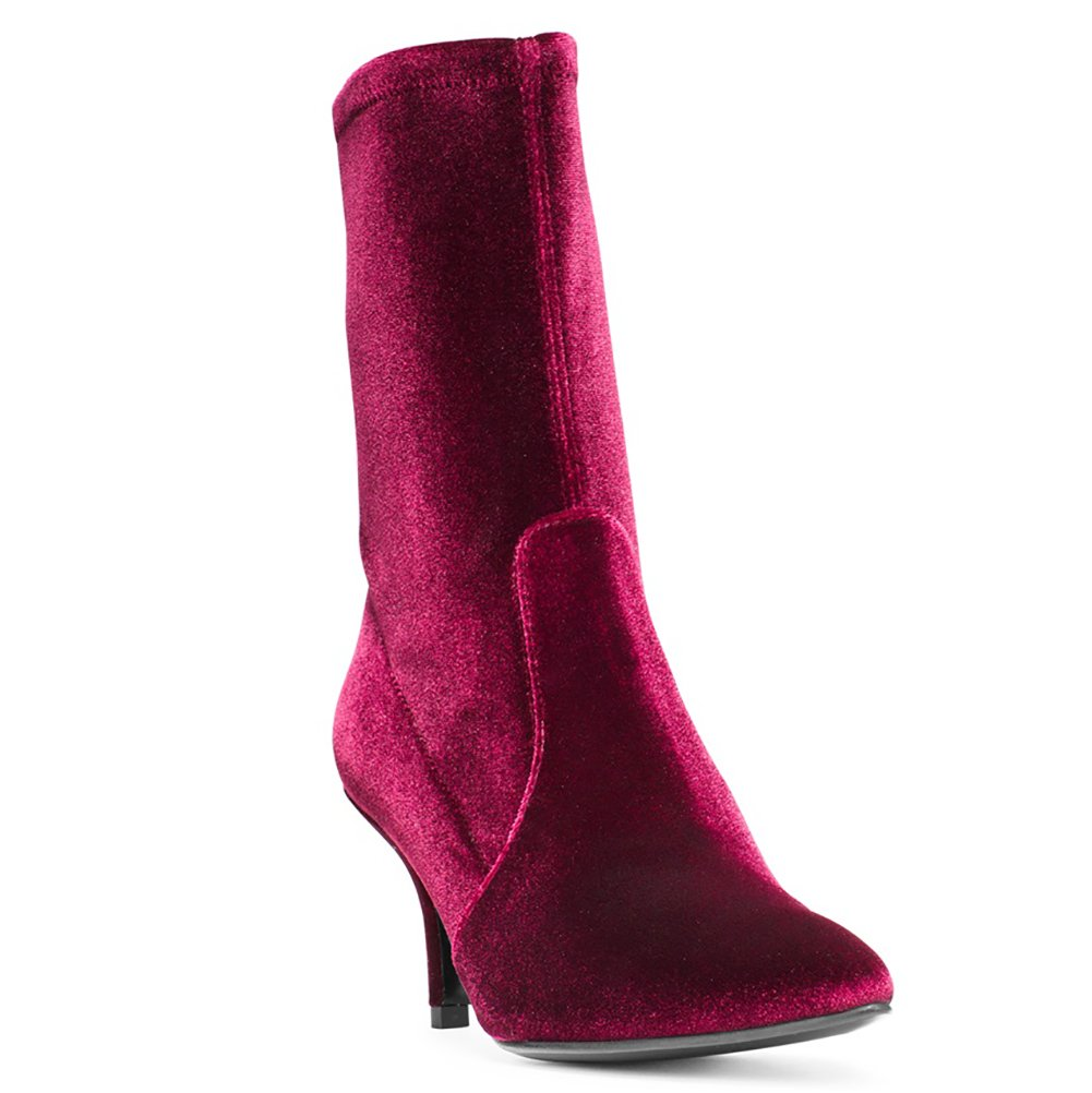 Sock Boots for Toe Women,Women's Slip On Pointed Toe for Mid Calf Boots Stretchy Suede Kitten Heel Booties B078RJ1GCZ 8 B(M) US|Red Velvet-6.5cm b47e5a