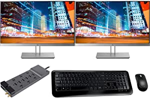 HP EliteDisplay E233 23 Inch Full HD Screen LED 2-Pack Display Bundle with 12-Outlet Professional SurgeMaster, Microsoft Wireless Keyboard and Mouse