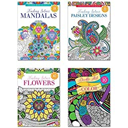B-THERE Adult Coloring Books, Over 125 Different Designs Combined, Mandala Coloring Books for Adults with Detailed Flower Designs Printed on Heavy Paper, Set of 4