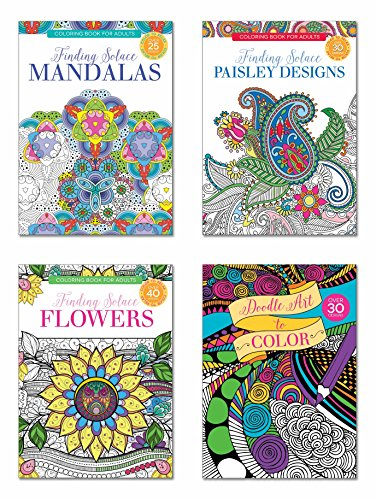 B-THERE Adult Coloring Books - Set of 4 Coloring Books, Over 125 Different Designs Combined! Mandala Coloring Books for Adults with Detailed Flower Designs Printed