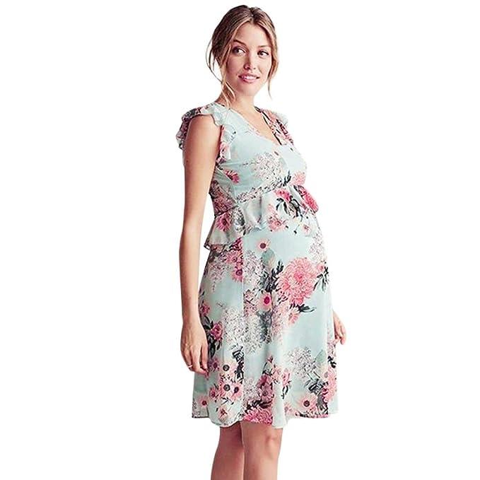 Amphia Ropa Premamá Vestido, Falda para Mujer Floral Falbala Embarazadas sin Mangas Volantes Vestido Ropa