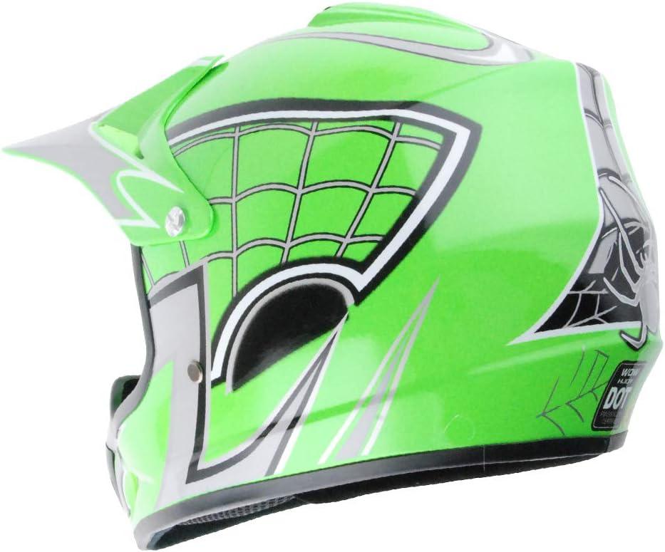 WOW Youth Kids Motocross BMX MX ATV Dirt Bike Helmet Spider Web Red