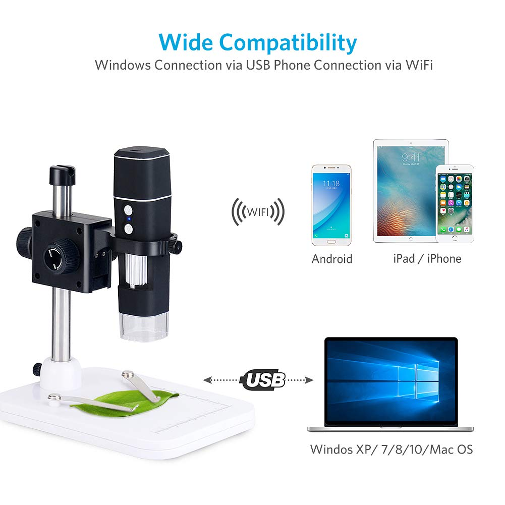 DEPSTECH WiFi 50X to 1000X Microscope,Portable 2 in1 Function USB