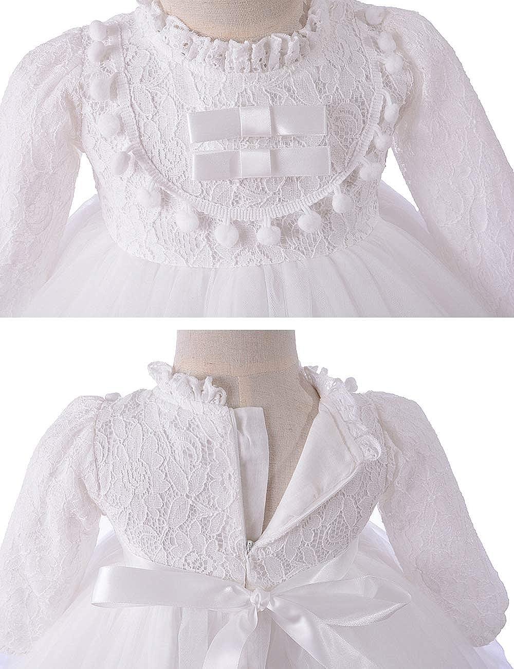 Infant Princess Ruffle Bowknot Long Sleeve Wedding Dresses Zhhlinyuan Baby Girls Fancy Shower Christening Party Tutu Dress with Hat